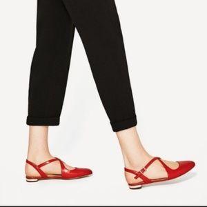 Zara Red Strappy Flats Size 7.5/8